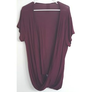 Free People Tops - Free people cranberry rayon draped open front top